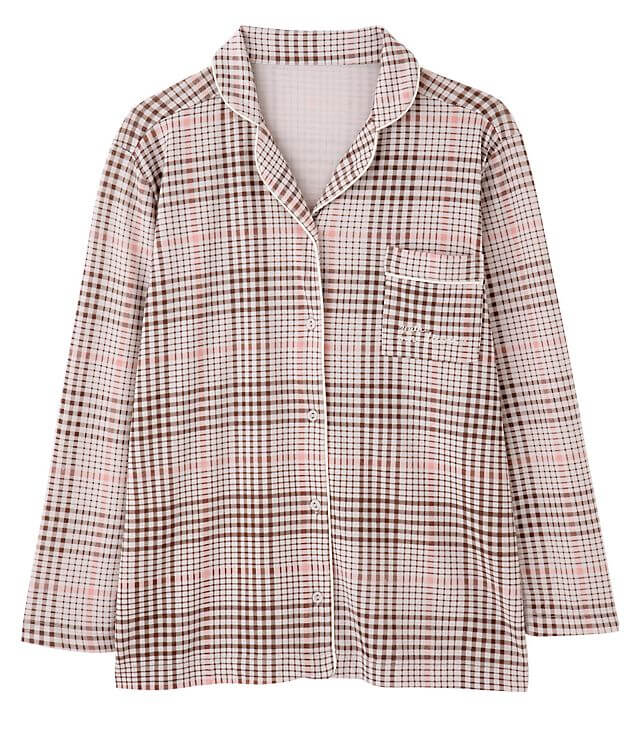 紗栄子さんおすすめ ピーチジョン 大人可愛いパジャマ③|PJ ROOM PICK&MIX 長袖パジャマシャツ チェック