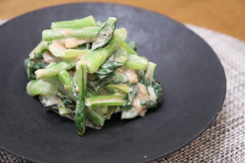竹脇まりなさんオススメ!小松菜と梅干し・胡麻ドレッシングの和え物が簡単おいしい♡
