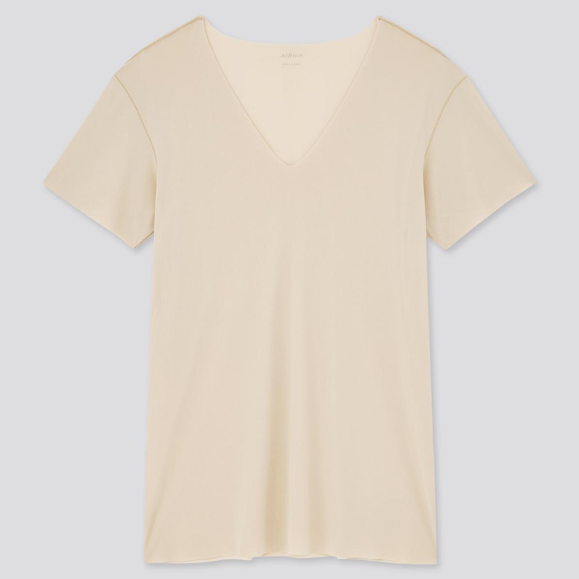 マコなり社長おすすめ 春のユニクロ商品 第4位|エアリズム マイクロメッシュVネックTシャツ(半袖)