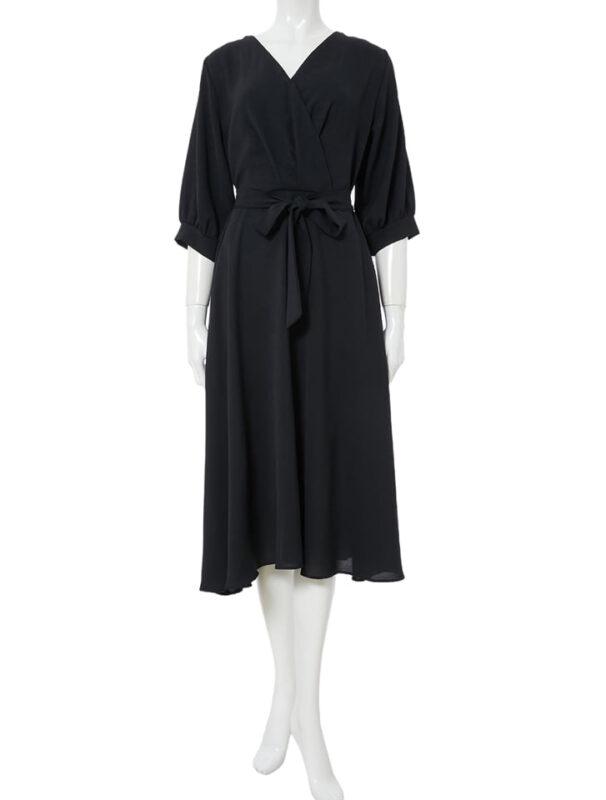 かわにしみきさん fifth春服 購入品②|ウエストリボン付きカシュクールワンピース ブラック