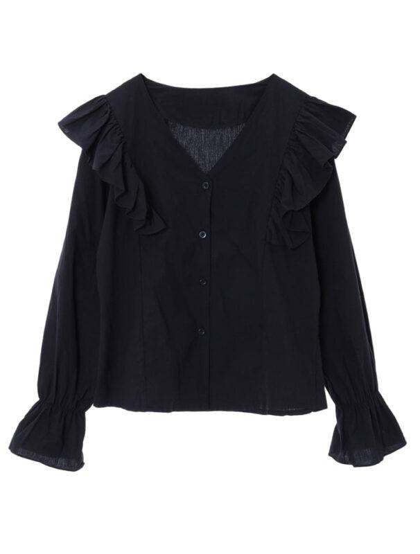 かわにしみきさん fifth春服 購入品⑩|ショルダーフリルVネックブラウス ブラック