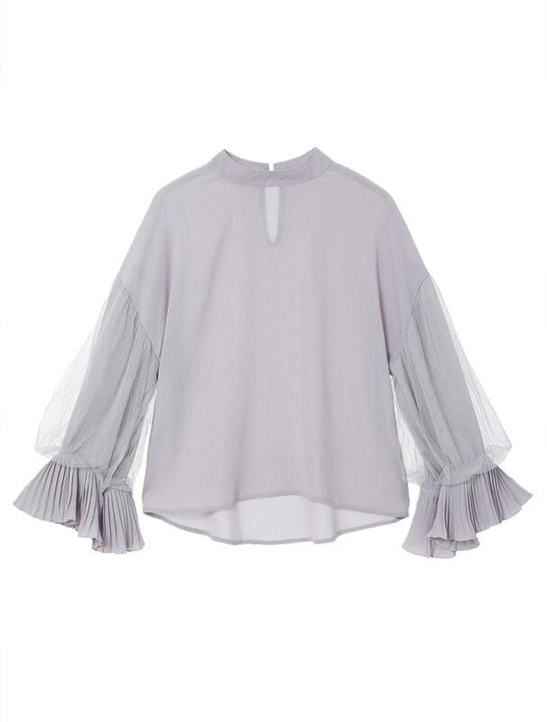 かわにしみきさん fifth春服 購入品⑪|チュールスリーブラッフルカフスブラウス グレー