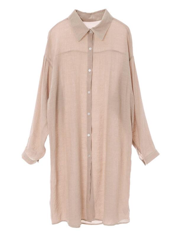 かわにしみきさん fifth春服 購入品⑬|リネンライクロングシャツ ピンクブラウン
