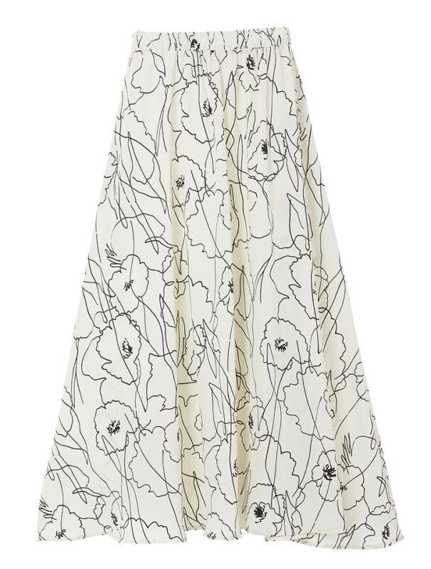 かわにしみきさん fifth春服 購入品⑮|バイカラーフラワーフレアスカート ホワイト