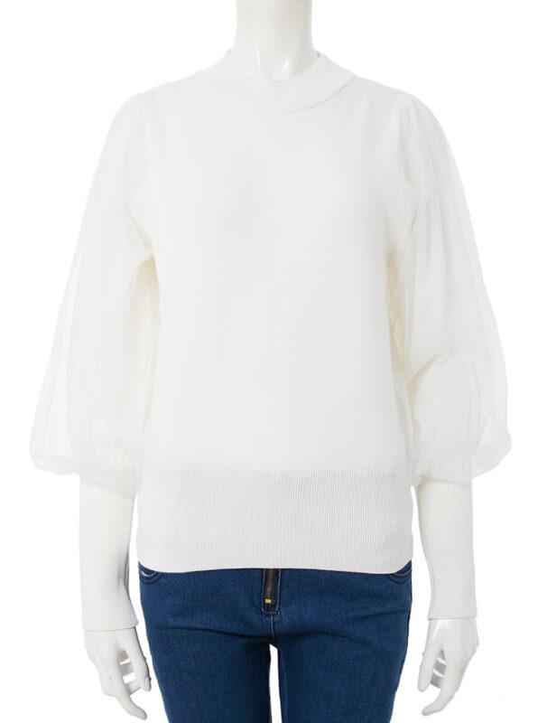 かわにしみきさん fifth春服 購入品⑦|チュールボリュームスリーブプルオーバー ホワイト